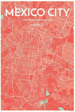 Mexico City Map Print by Point Two
