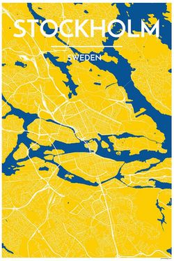 Stockholm Map Print, Yellow by Point Two