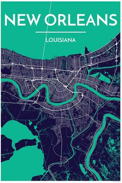 picture relating to Printable Maps of New Orleans named Contemporary Orleans Map Print - Clean Orleans Wall Map