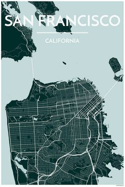 San Francisco Map Print, Blue by Point Two