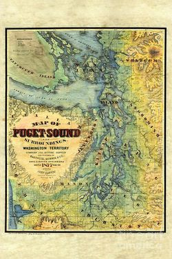 Puget Sound Historic Map 1877 by Middleton