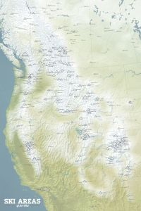 Western US Ski Areas & Resorts Map by Best Maps Ever