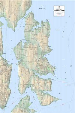 Bainbridge Island Terrain Map by Kroll Map Company