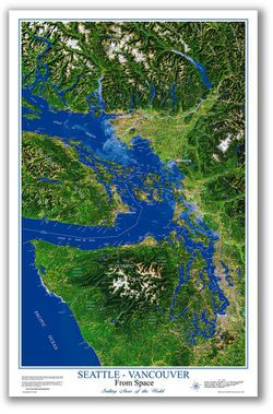 Satellite Image Map of Seattle to Vancouver, BC From Space