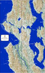 Seattle Terrain Map by Kroll Map Company