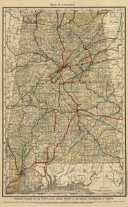 Antique Map of Alabama 1888
