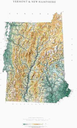 New Hampshire & Vermont State Wall Map l Raven Maps