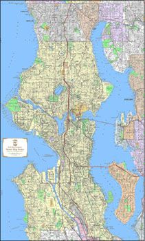 Seattle Detailed Street Map - Large (3'x6') Wall Map