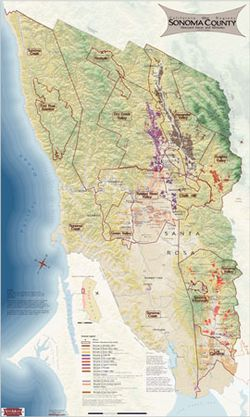 Sonoma County, California Wine Region Map