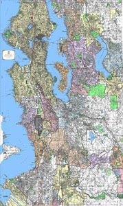 King County (Western) Street Wall Map 4'x7'