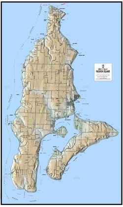 Vashon Island Terrain Map by Kroll Map Company