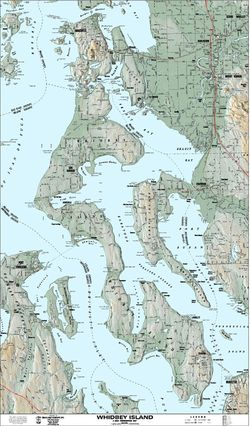 Whidbey Island Terrain Map by Kroll Map Company