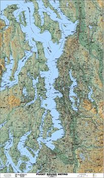 Puget Sound Arterial Shaded Relief Map