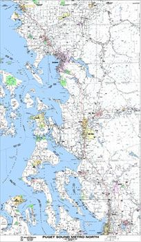 Puget Sound North Arterial Map by Kroll Map Company - Three styles
