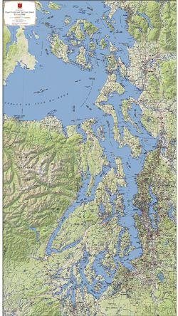 Puget Sound & San Juan Islands Terrain Map by Kroll Map