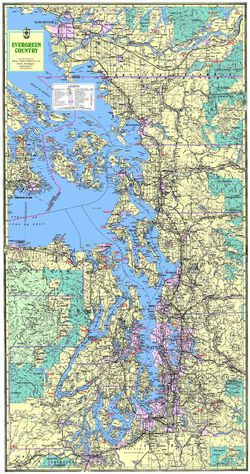 Evergreen Country Map -Puget Sound- Large by Kroll Map