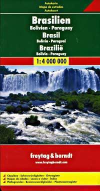 Brazil - Bolivia - Paraguay Travel Map