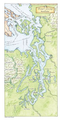 Puget Sound Map & Poster by Brule