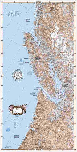 Northwest Coast Wall Map - South half