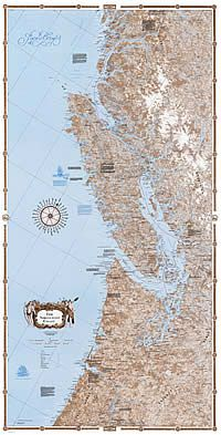 Northwest Coast Wall Map - South half