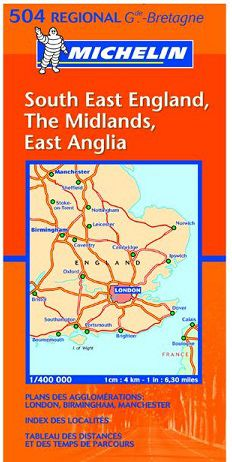 SE England, Midlands Travel Map by Michelin