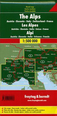 Alps Travel Map by Freytag & Berndt