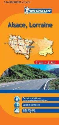 Alsace, Lorraine Regional Map, 516 by Michelin