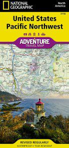 United States Pacific Northwest Adventure Map - WA,  ID, MT, OR, WY