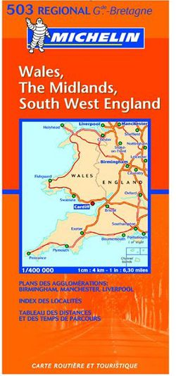 SW England, Wales & Midlands Travel Map by Michelin