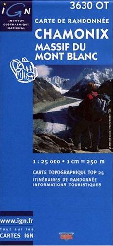 Chamonix, Mont Blanc Hiking Map by IGN