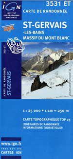 St-Gervais, Mt Blanc Hiking Map by IGN