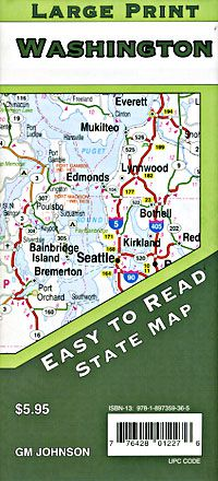 Washington State Large Print Road Map - GM Johnson
