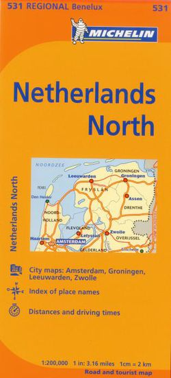 Netherlands North Travel Map by Michelin