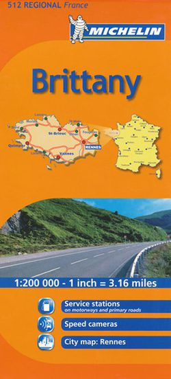 Brittany Regional Map, 512 by Michelin