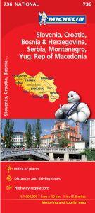 Slovenia, Croatia, Bosnia & Herzegovina Area Travel Map by Michelin