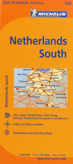 Netherlands South Travel Map by Michelin