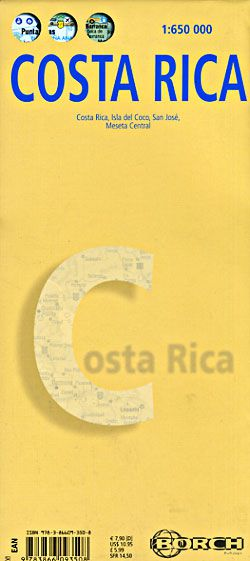 Costa Rica Travel Map by Borch