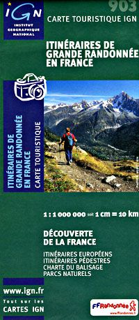 France Long Distance Footpaths Map by IGN