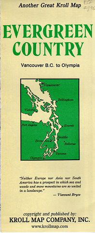 Evergreen Country folded Map -Puget Sound Region - by Kroll Map Company