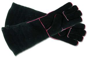 Hearth Gloves, Suede Black and Red