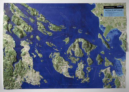 Raised Relief World Map.San Juan Islands Gulf Islands Raised Relief Topographic Map