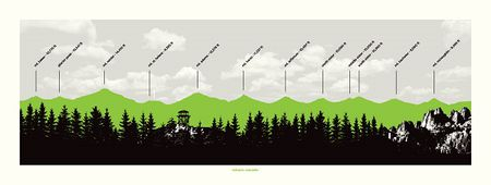 Cascades Mountain Peaks Profile Map