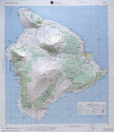 Big Island Of Hawaii Hilo Raised Relief Map By Hubbard