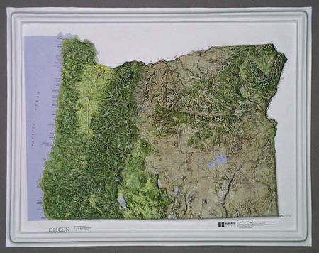 Oregon Raised Relief Map Natural Color Series