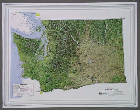 Washington State Raised Relief Map 3d Map Of Washington