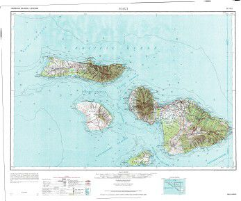 Hawaii Wall Map Map Of Maui Molokai Lanai